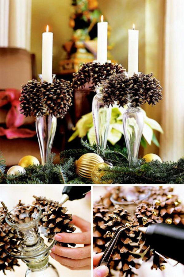 30 festive diy pine cone decorating ideas decorating. Black Bedroom Furniture Sets. Home Design Ideas