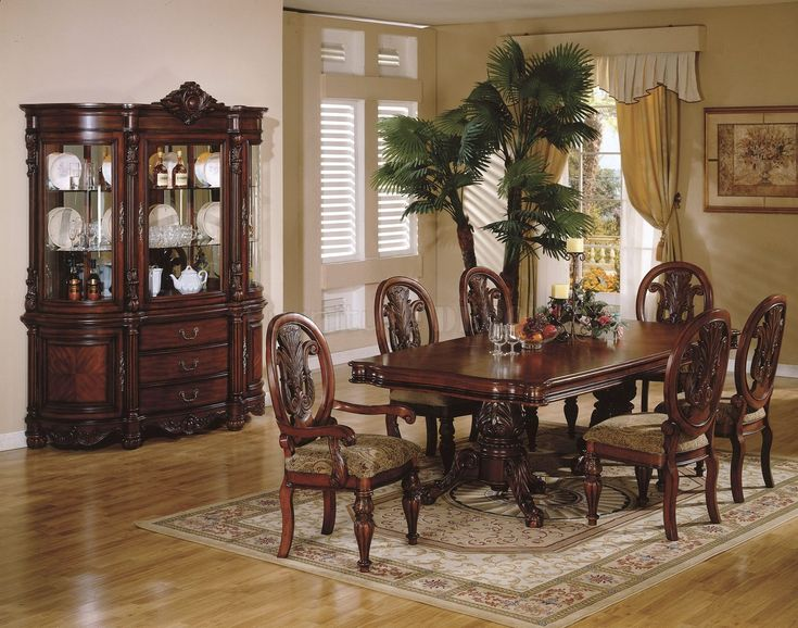 Traditional Formal Cherry Wood Dining Room Pedestal Table Set Furniture New