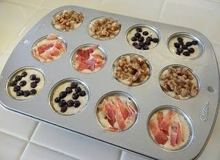 Pancake bites. Use your favorite mix, pour into muffin tins, add fruit, nuts, sausage, bacon... bake 350 for 12-14 min. :)