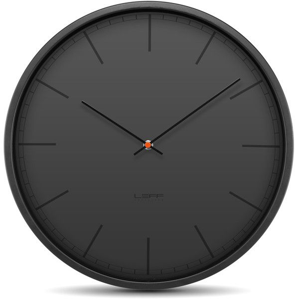 LEFF amsterdam Outlet - Tone35 Wall Clock - Black ($104) ❤ liked on Polyvore featuring home, home decor, clocks, black home decor, dial clocks, black wall clock and black clock