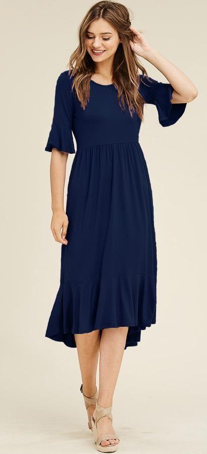 e18e4b0a7b34 bell sleeve, navy dress, midi dress, modest dress, missionary clothes,  teacher clothes