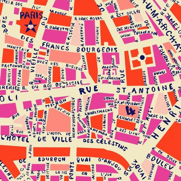paris map pink Canvas Print