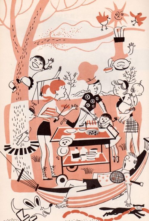 "picnicer: ""Midcentury picnic. Cutco Cook Book by Margaret Mitchel, illustrated…"