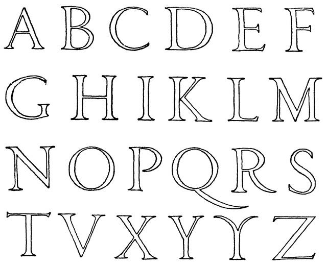 Roman Renaissance Alphabet Calligraphy Roman Trajan