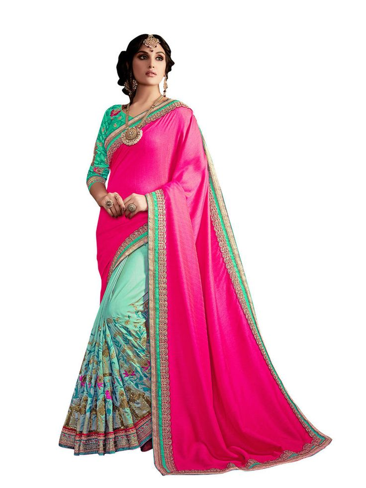 India Ethnic Designer Wear Bollywood Saree Premium Wedding Wear Saree Green Pink #RadhaKrishnaExports #BollywoodSaree #PremiumWeddingWear