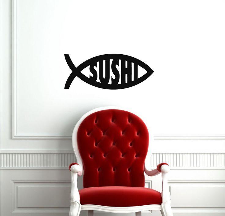 SUSHI FISH JAPANESE FOOD LOGO WALL VINYL STICKER DECALS ART MURAL A288 #MuralArtDecals