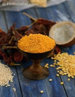 This flavourful Chutney Podi is sure to make you gobble up an extra idli or two! Mixed with til oil, this Chutney Podi makes an exciting accompaniment to hot idlis and dosas. When packing idlis in the lunch box or for a journey, you can coat them with a mixture of Chutney Podi and til oil to make sure they remain moist and soft. Having absorbed all the flavours of the powder, the idlis will taste even better than fresh, hot ones! You can even use this aromatic powder to season upmas and dry…