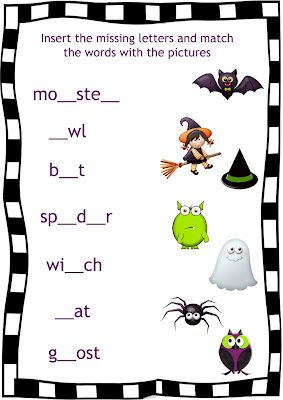 #Halloween #worksheet for #esl  http://english4kids-step-by-step.blogspot.com/2012/10/this-scary-night-halloween-song-for-kids.html