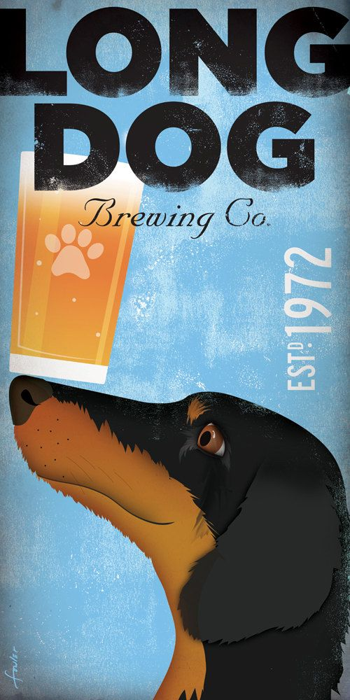 Dachshund Brewing company original illustration graphic art on canvas 10 x 20 x 1.5 by gemini studio