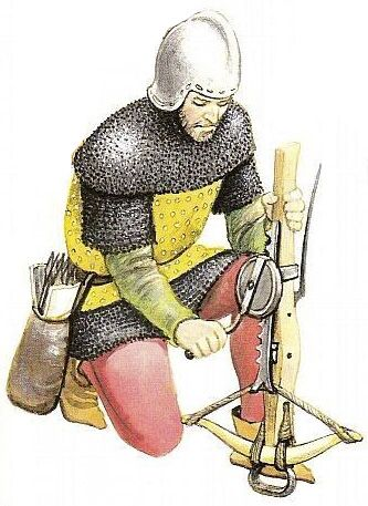 Illustration of a soldier in mail and helmet winding an arbalist crossbow.
