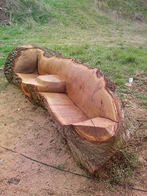 Yard Furniture Made Out Of Tree Trunks We Certainly Have Enough Lying Around From Sding Down The Flash Flood Control Gully Diy Pinte