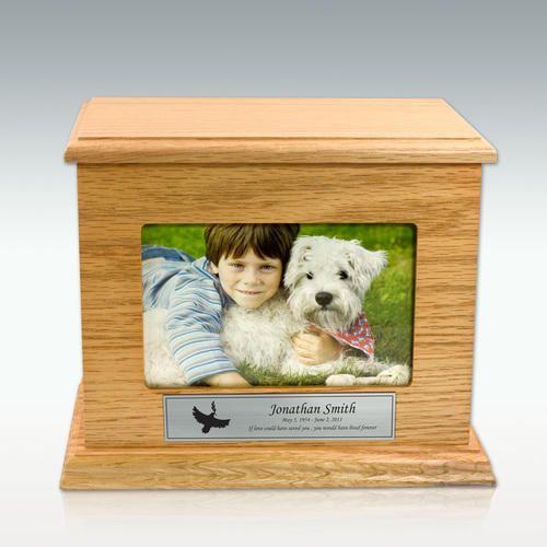 Medium Framed Oak Photo Cremation Urn - Horizontal