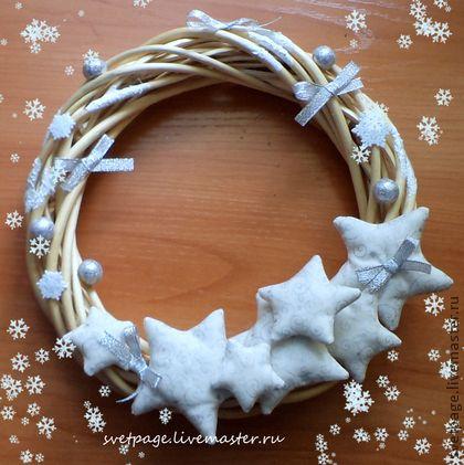 Венок Рождественские звезды - белый,Новый Год,рождество,подарок,подарок на новый год