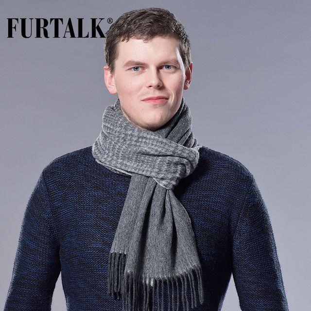 FURTALK 100% Bufanda A Cuadros Masculinos Hombres Lujo de la Marca de Invierno de Lana de Cordero de Lana Pañuelo Primavera Otoño Bufandas para Hombres