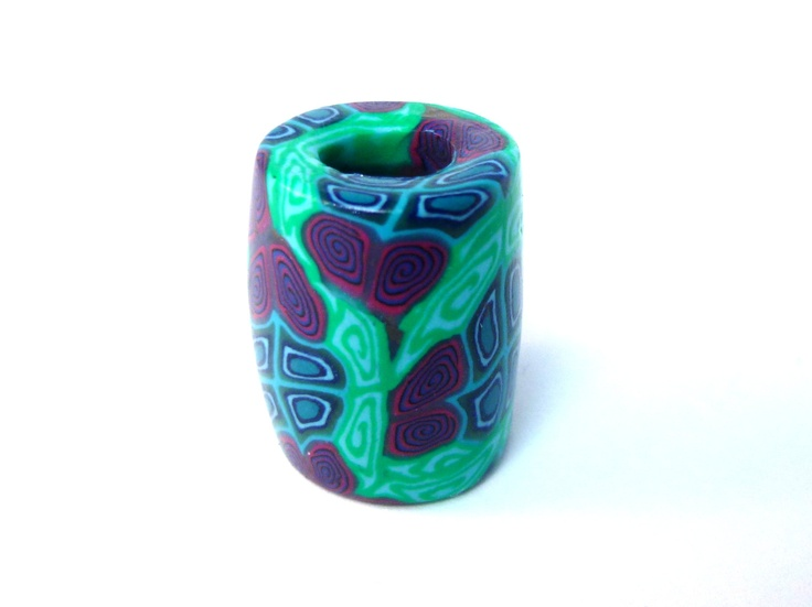Millefiori Dreadlock Bead Dread Beads Polymer Clay Fimo 9mm hole. £3.20, via Etsy.