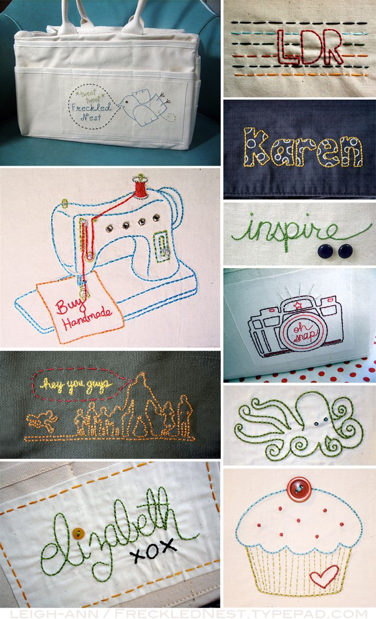 """hand stitching, I really like the """"hey you guys"""" one!!!  But the others are cute also!!"""