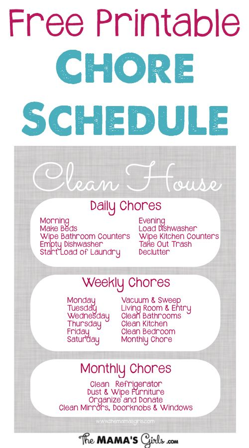 Free Printable Chore Schedule-Chart