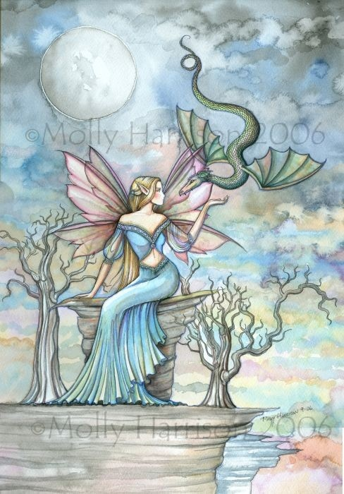 Land Beyond by artist Molly Harrison - fairy and dragon - fantasy