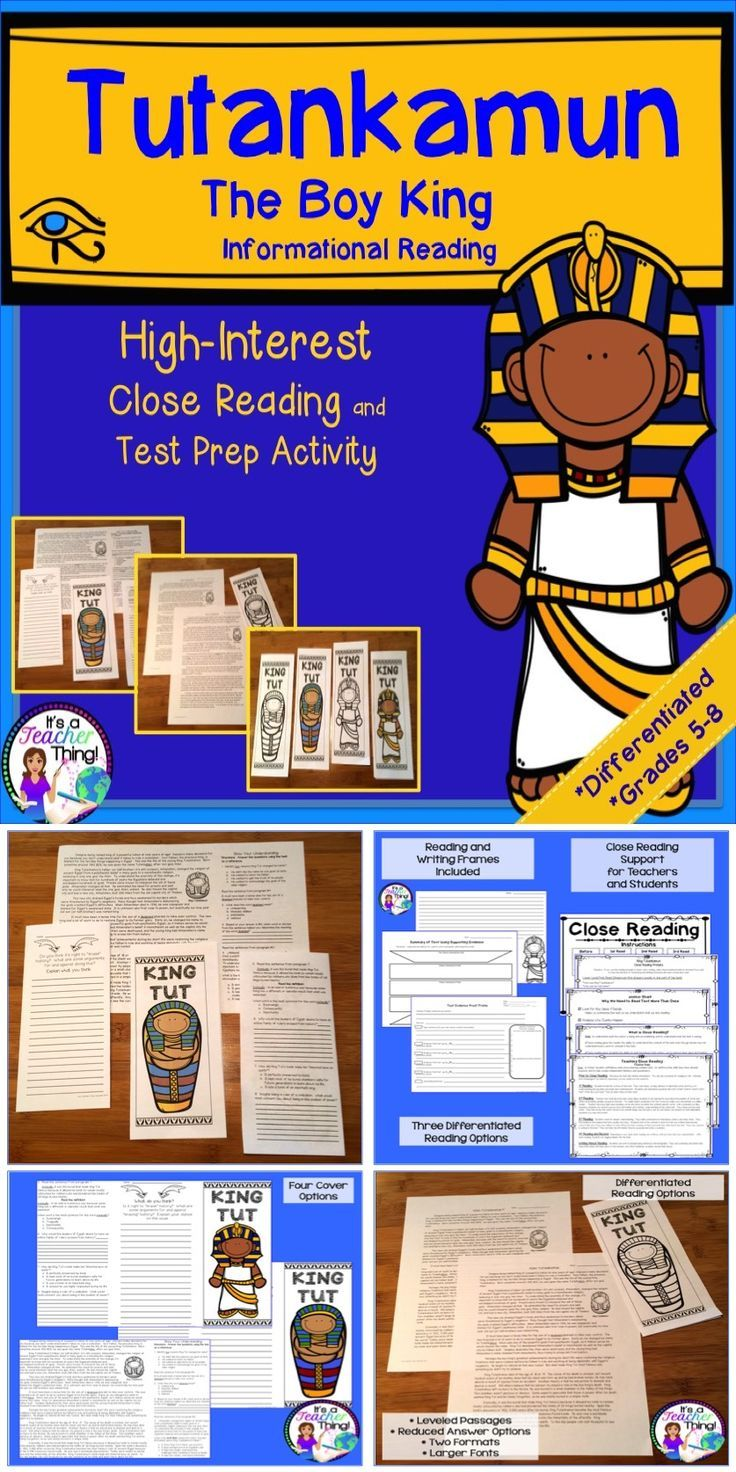Combine test prep and high-interest informational reading with the King Tutankamun Brochures.  Differentiated versions and scaffolding will help all of your students access to the text.  Support your students' close reading and annotation skills using the