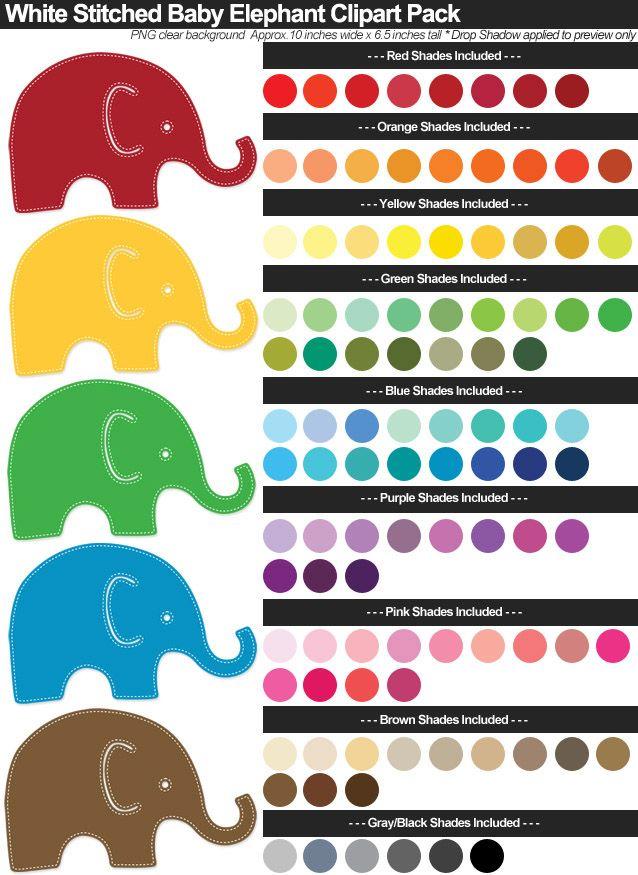 White Stitched Baby Elephants Clipart Pack | Baby elephant ...