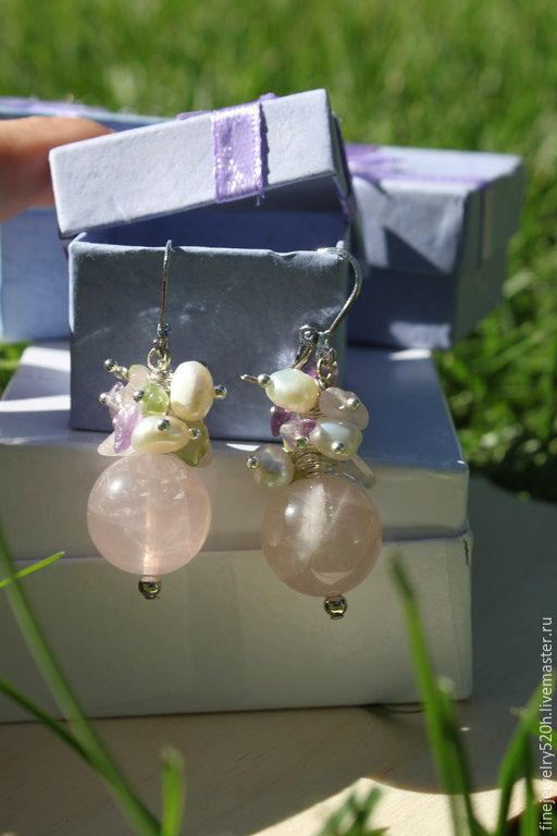 Earrings with pearls quartz amethyst and от PETRUSandPEARLS