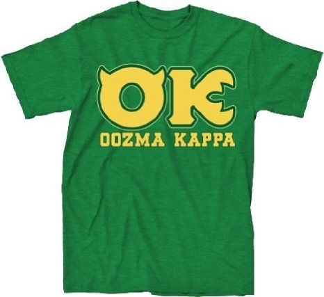 Amazon.com: Disney Monsters University OK Oozma Kappa Member Adult Green T-shirt: Clothing