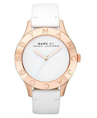 Marc by Marc Jacobs Watch, Women's White Leather Strap 40mm MBM1201 - Marc by Marc Jacobs - Jewelry & Watches - Macy's