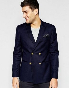 ASOS Skinny Double Breasted Blazer With Gold Buttons