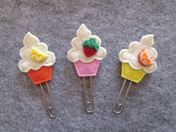 Planner clip - Cupcake paper clip - Planner accessories - Felt bookmark - Felt paper clip - Back to school - Party Favors