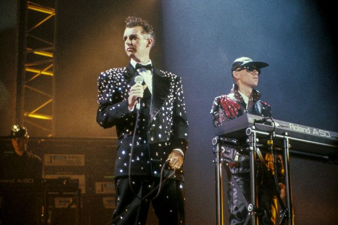 A performance by Pet Shop Boys' Neil Tennant, left, and Chris Lowe around 1989.