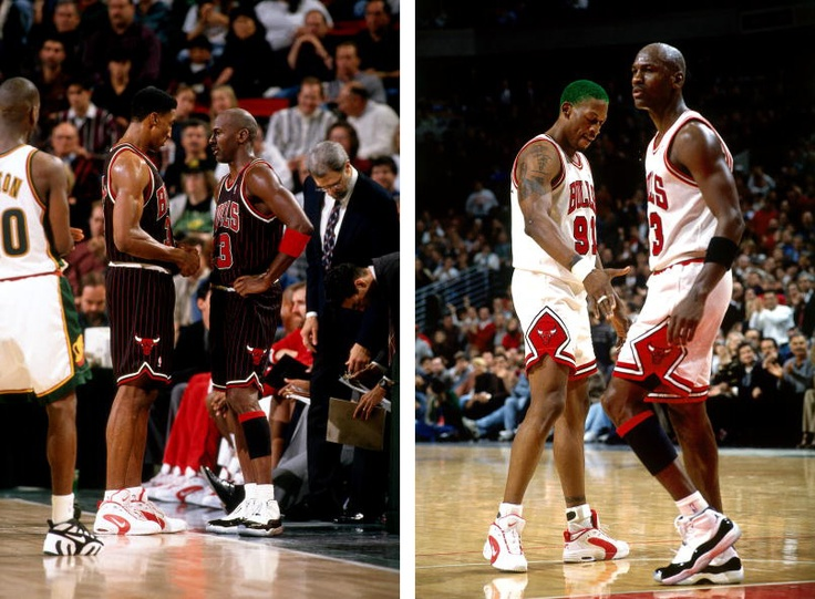Dennis Rodman & Scottie Pippen In The Nike Air Way Up / Michael Jordan In  The