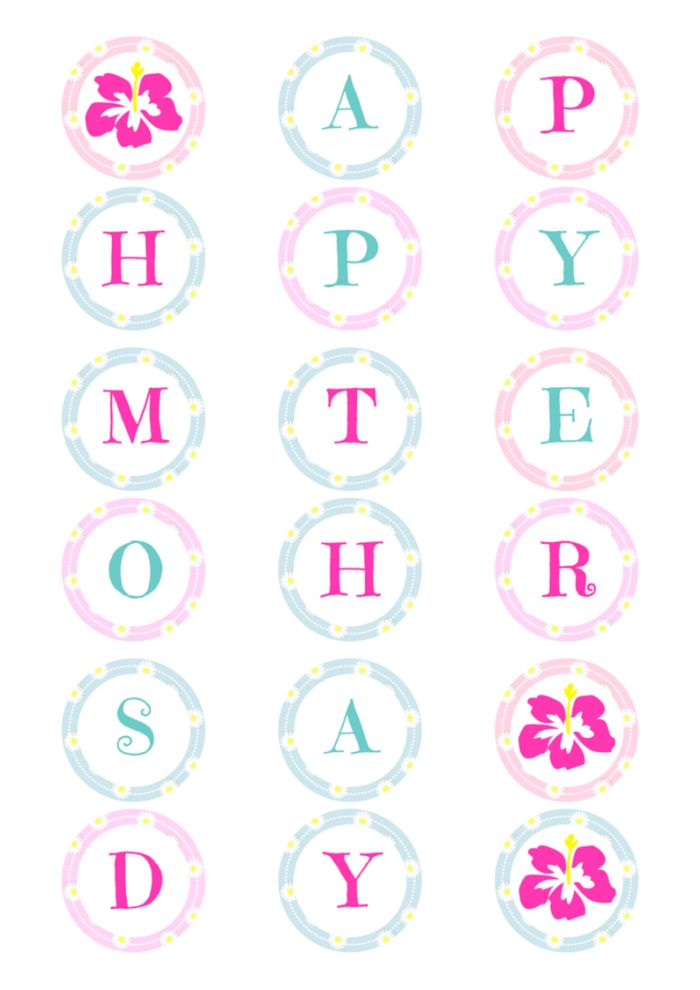 Absolutely delightful Mother's Day Banner. This is easy to print and use for your Mother's day celebrations. It's time to spoil mum, so start by hanging this banner for her to see as soon as she walks through the door. Plus it's FREE!