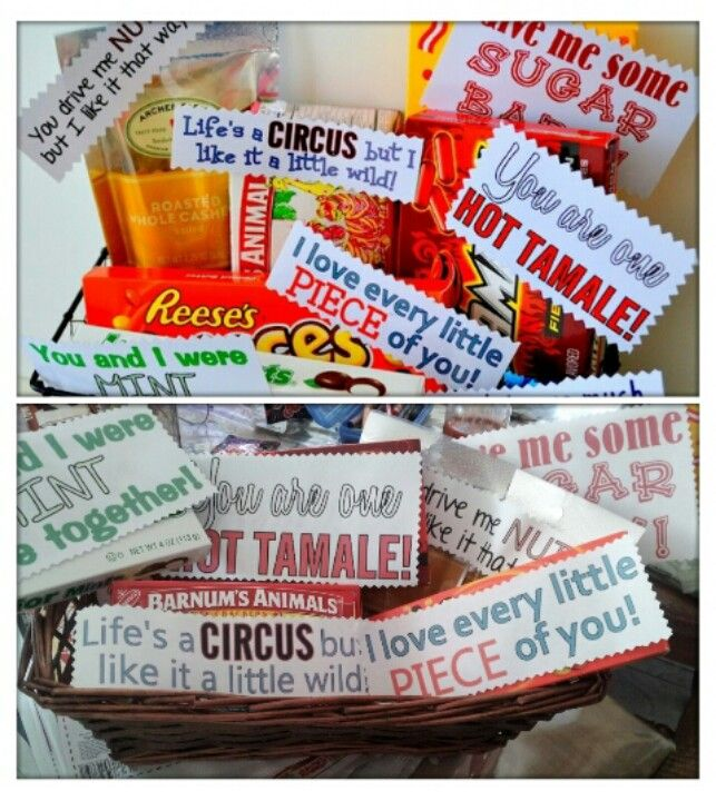 I made my husband, Adrian this basket of candy for our 7 year anniversary. He loved it! The original idea is pinned on my creativity at its best board…