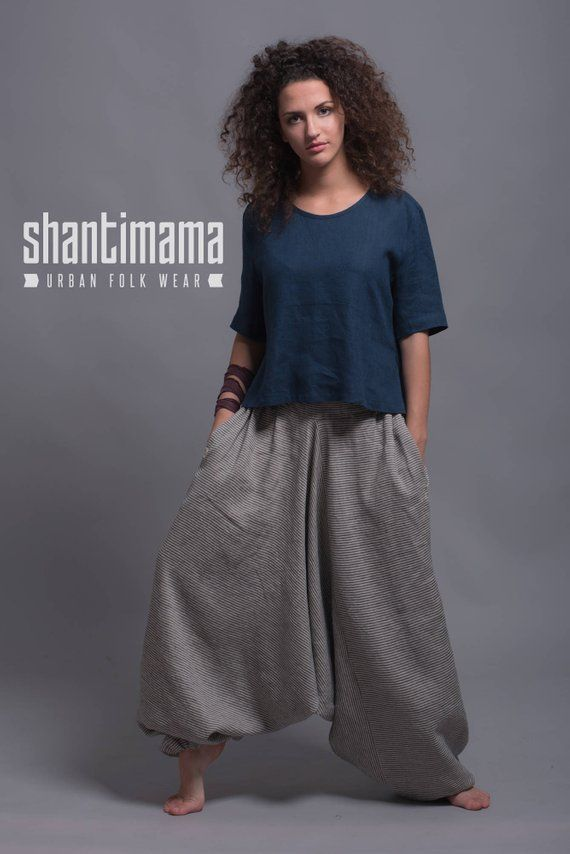05ad4842e3e Linen Harem Pants with Side Pockets