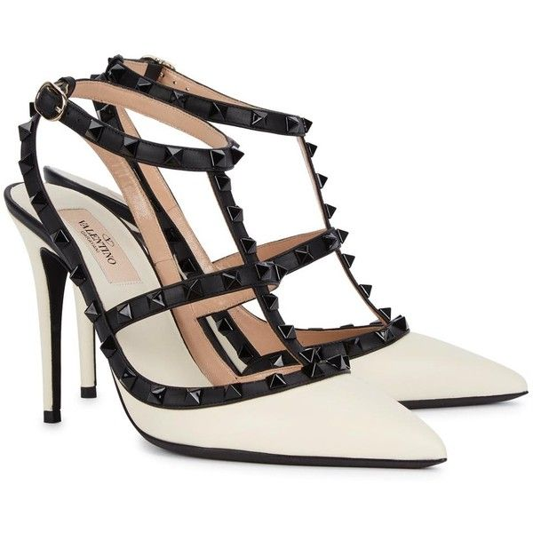 Womens Pointed-Toe Pumps Valentino Rockstud 100 Monochrome Leather... found on Polyvore featuring shoes, pumps, heels, high heel pumps, pointed toe high heel pumps, valentino pumps, t strap pumps and t strap shoes