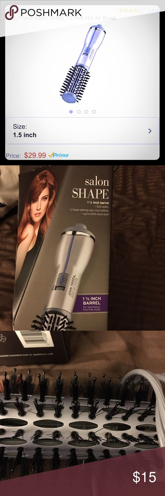 John Frieda Salon Shape Hot Air Brush with box John Frieda Salon Shape Hot Air Brush 1.5 inch barrel. Description in pics. New never used. $15 FINAL PRICE.                                              🚫NO TRADE OR OTHER SELLING APP 🚫NO DISCUSSING PRICES IN COMMENTS,NO LOWBALL OFFERS, NO HOLDS 🎀BUNDLE FOR DISCOUNT 🎀BUY WITH CONFIDENCE. Check out my love notes from previous customers.  🎀DO ASK QUESTIONS AND REQUEST PICS IF NEEDED. John Frieda Accessories Hair Accessories