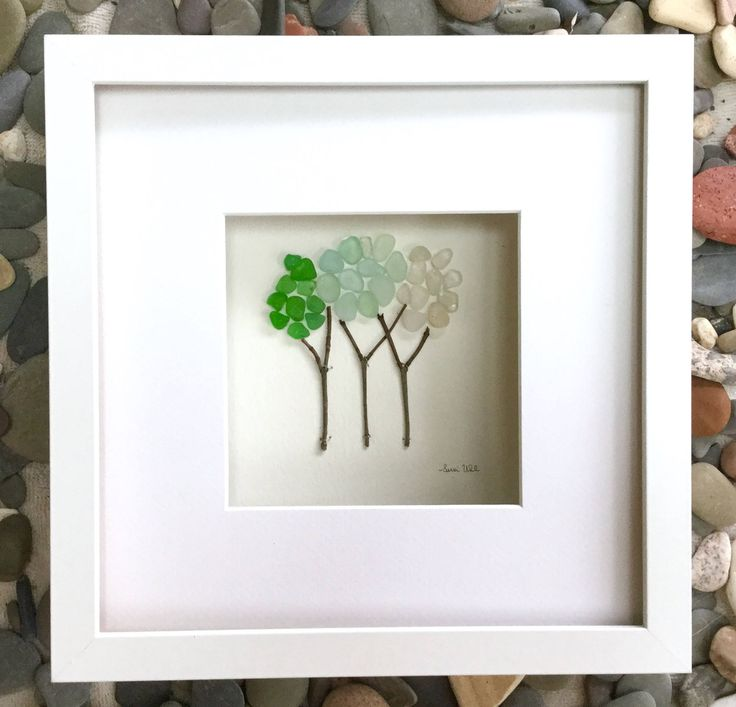Unique gift pebble art 9 x 9 genuine sea glass trees modern wall art abstract contemporary signed