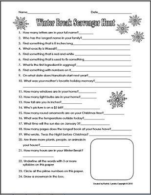 Christmas Break Scavenger Hunt: Classroom Freebies,  Website, Scavenger Hunts, Angel Cards, Winter Break, Schools Age, Scavenger Hunt'S, Christmas Break, Break Scavenger