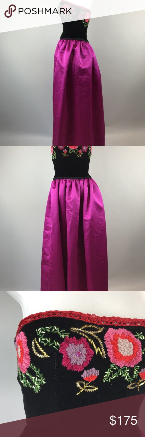 """80s Embroidered Prom Dress Beaded Taffeta 6 Vtg 80s Victoria Royal Embroidered Prom Dress Pink Taffeta Skirt Beaded 6   Amazing dress. Black velvet top with intricate embroidery and beading. Bottom is a deep magenta taffeta like skirt. Tagged size 6 but please see measurements to ensure a proper fit. Measured flat unstretched.  Armpit to armpit 16.5""""  Waist 14.5""""  Length 50"""" Vintage Dresses Prom"""