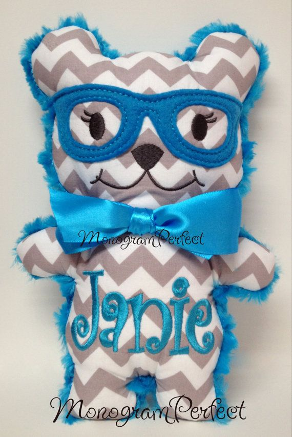 Personalized Hipster Bear Plush Soft Toy by MonogramPerfect, $19.99
