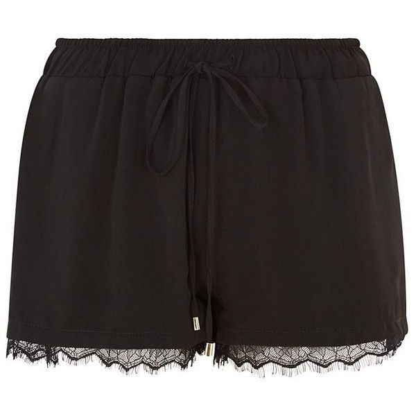 Cameo Rose Black Lace Trim Shorts (€8,22) ❤ liked on Polyvore featuring shorts, bottoms, mini shorts, lace-trim shorts and summer shorts