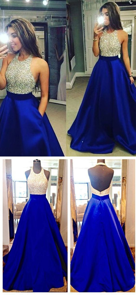 A-Line Halter Sequins Blue Satin Long Prom Evening Formal Dresses 3020062