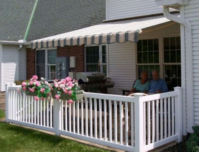A beautiful awning in a relaxed setting.