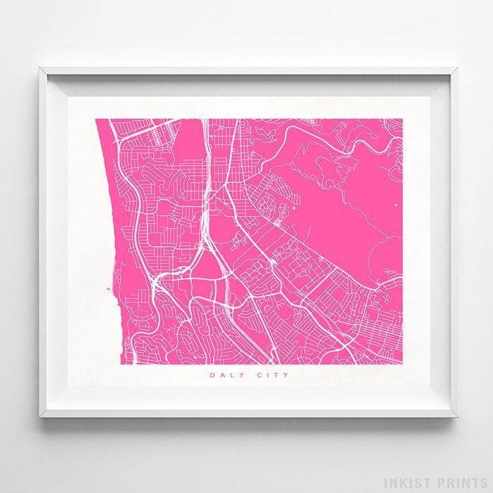 California Quake Map Usgs%0A Daly City California Street Map Wall Decor Poster     Color Options  Prices  from