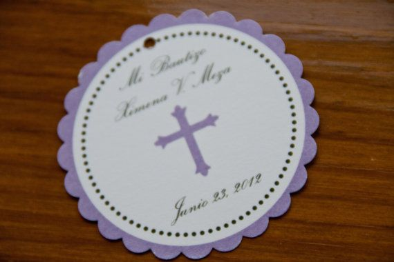 Baptism Christening Favor Tags Communion Party by Bellezaeluce, $5.00
