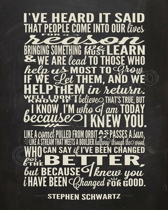 "I Have Been Changed ""For Good"" Song Lyrics - INSTANT DOWNLOAD Printable Wicked the Broadway Musical Show Play Quote Memorabilia Wall Art Home Office Decor Chalkboard by Jalipeno. The perfect gift for a teacher, professor, dance teacher, coach, bridesmaid, co-worker, boss, assistant, friend, musical theater fan, etc. and for so many occasions - as a memento from the show, parting gift, retirement, thank you, moving / going away, farewell, graduation, etc. Check my shop for more Wicked…"