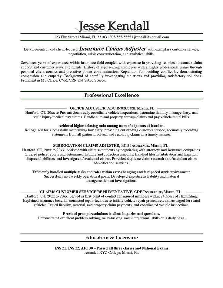 Isurance adjuster resume sample resumesdesign resume