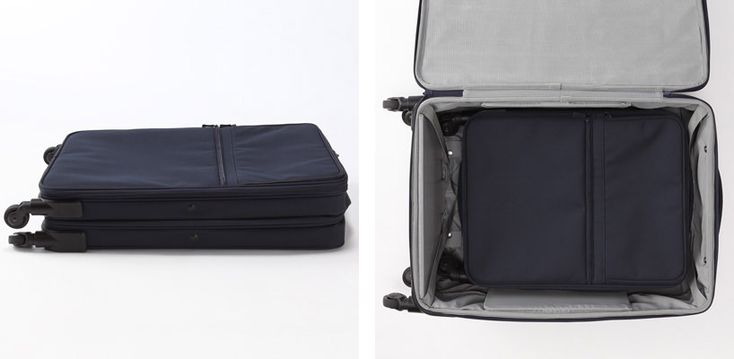 Muji Suitcase that flattens to half it's depth.