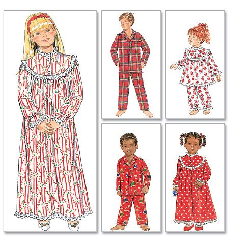 Butterick 5586 - Children'/Girls'/Boys' Nightgown, Top and Pants size 7-10