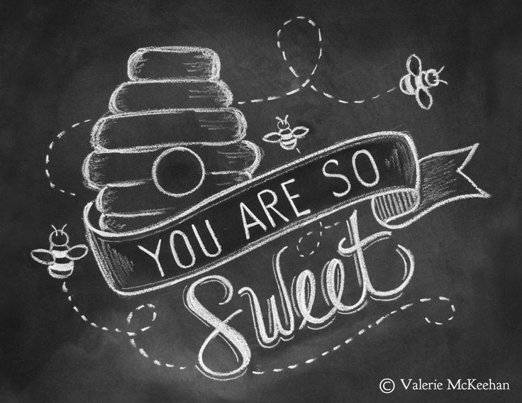 Bee Card - Spring Card - You Are So Sweet Card - Chalkboard Art - Unique Card - Hand Lettered Card - Chalk Art. $2.50, via Etsy.